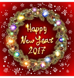 Christmas happy new year 2017 gold wreath red vector image