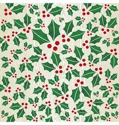 Christmas wooden mistletoe shape pattern vector image vector image