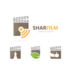 clapperboard and wifi logo combination vector image vector image