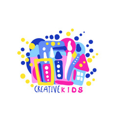 creative kids logo design colorful labels and vector image vector image