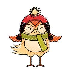 Cute scribble christmas bird cartoon vector
