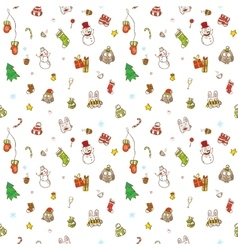 doodle christmas and new year seamless vector image vector image