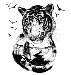 Double exposure Hand drawn Tiger vector image vector image
