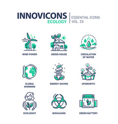 ecology - modern color single line icon set vector image vector image