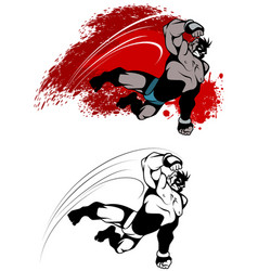 expressive fighter in jump vector image