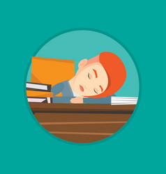 Female student sleeping at the desk with book vector