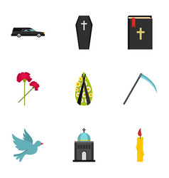 Funeral icons set flat style vector