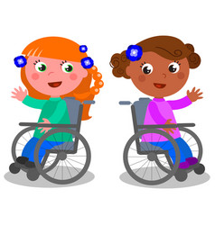 Happy girls on wheelchair vector