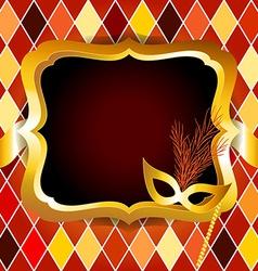 Harlequin or venitian carnival ball invitation vector image