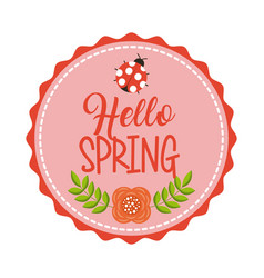 hello spring floral decoration ladybug flower vector image
