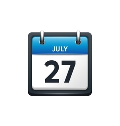 July 27 calendar icon flat vector