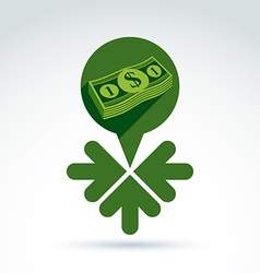 Money earning theme icon with dollar and 3 arrows vector image vector image