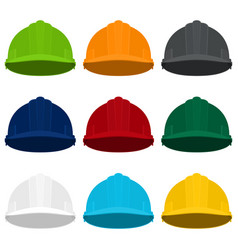 Multicolored working safety helmets vector