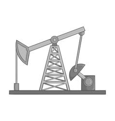 Oil rig icon black monochrome style vector