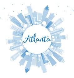 Outline atlanta skyline with blue buildings vector