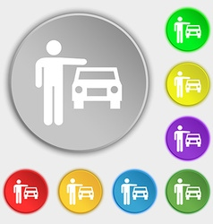 Person up hailing a taxi icon sign symbol on eight vector