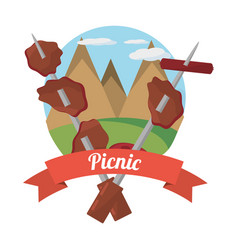 Picnic grilled food with mountains background vector