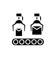 production line icon black vector image vector image