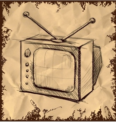 Retro tv with antenna on vintage background vector image vector image