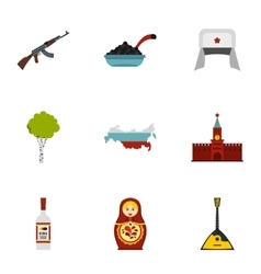 Russian traditional elements icons set flat style vector