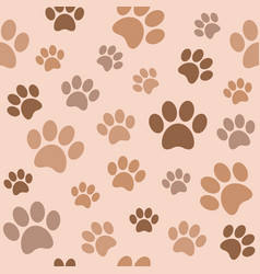 seamless paw pattern flat design vector image vector image