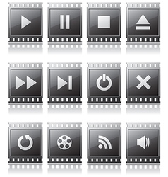 Set of buttons with symbols vector