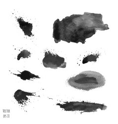 Set of dark black watercolor hand painted texture vector