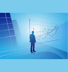 silhouette businessman looking at finance graph vector image