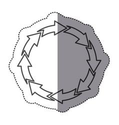 Sticker silhouette set circular arrow icon vector