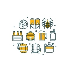 Thin line flat design banner for beer brewer vector image