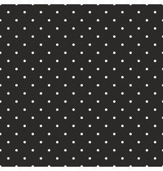 Tile pattern white polka dots on black background vector image