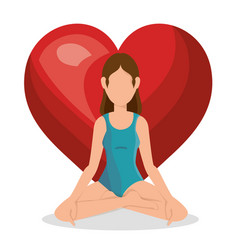 Woman practicing yoga healthy lifestyle vector