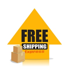 Yellow up arrow with text free shipping and vector image