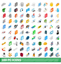 100 pc icons set isometric 3d style vector image vector image