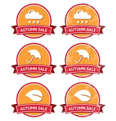Autumn sale retro orange and red labels - grunge vector image