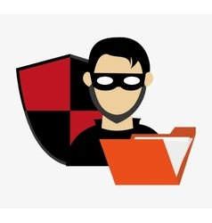Hacker with folder and shield system security vector