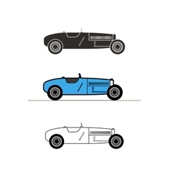 Retro sport racing car vintage collection vector