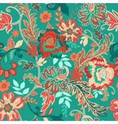 Seamless floral background Colorful red and green vector image