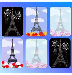 set of cards with eiffel tower vector image