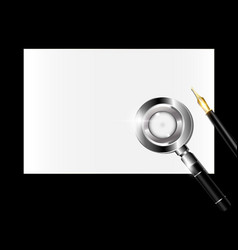 Small paper magnifier and golden pen vector