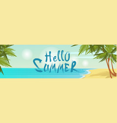 hello summer beach vacation sand tropical seaside vector image