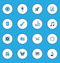 Audio colorful icons set collection of tambourine vector