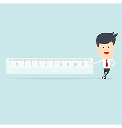 Business man user ruler measure vector