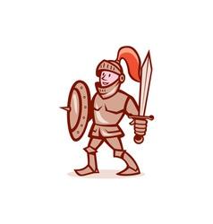 Knight shield sword cartoon vector