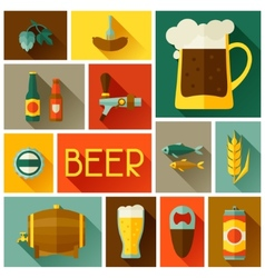 Background with beer icons and objects in flat vector image
