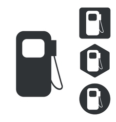 Gas pump icon set monochrome vector