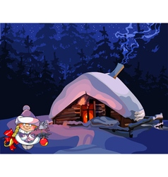 Cartoon girl snow maiden stands near the hut vector