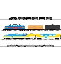 Passenger and transportation trains vector