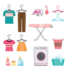 Cleaning laundry icons set vector