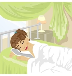 Teenager girl sleeps at bedroom with green curtain vector